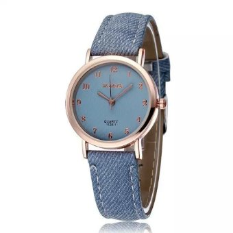 WOMAGE Blue Jeans Style Straps Women's Wrist Watch Alloy Case Analog Quartz Watches light blue