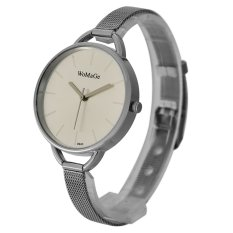 Womage Fashion Dress Women Thin Wire Reticularis Stainless Steel Strap Big Round Brown Alloy Dial Watch 9940 (White)