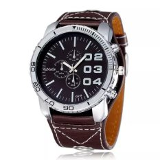 WOMAGE Men Big Round Style Adjustable Alloy Case PU Leather Band Quartz Watches Coffee
