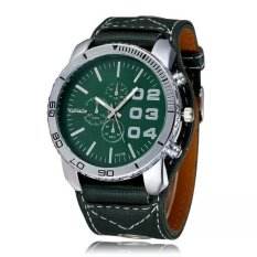 WOMAGE Men Big Round Style Adjustable Alloy Case PU Leather Band Quartz Watches Green