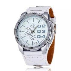 WOMAGE Men Big Round Style Adjustable Alloy Case PU Leather Band Quartz Watches White