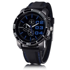 WOMAGE Men Luxury Silicone Strap Business Casual Boys Quartz Big Watches Wristwatch Dark Blue