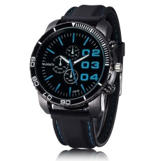 WOMAGE Men Luxury Silicone Strap Business Casual Boys Quartz Big Watches Wristwatch Light Blue