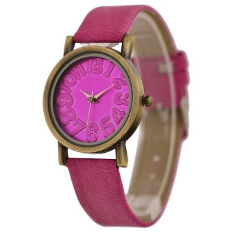 WoMaGe Vintage Casual Women Frosted PU Leather Strap Quartz Watch Rose Red