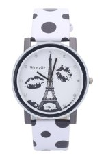 WoMaGe Women Lady Paris Eiffel Tower Lip Spots Pattern Quartz Wrist Watches (Blue) (Intl)