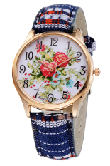 Woman Exotic Colorful Fabric Band Red Lotus Quartz Bracelet Wrist Watch Casual Unique Diamond Watch (Intl)