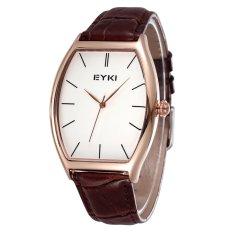 Womdee Fashion Casual Wristwatches Genuine Leather Strap Watch Women Men Tonneau Dial EYKI Brand Lovers' Watches (Brown) (Intl)