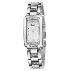 Women Luxury Crystal Quartz Watch Plating Gold Stainless Steel Band Bracelet Wristwatch Silver (Intl)
