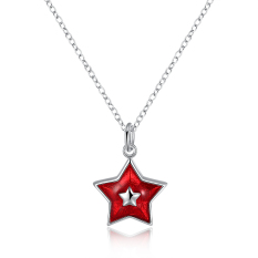 Women 925 Silver Plated Star Pendant Necklace Red - Intl