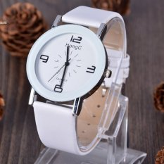 Women Artificial Leather Band Quartz Wrist Watch Analog Dress Watches Sports Watches White (Intl)