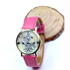 Women Aztec Tribal Pattern PU Leather Quartz Wrist Watches Watch Pink