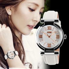 Women Dress Watches 3ATM Waterproof Leather Strap Fashion Quartz Watch White