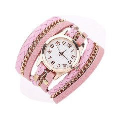 Women Dress Watches Weave Leather Strap Quartz Watches Gold Fashion Leather Bracelet Relogio Feminino Pink (Intl)
