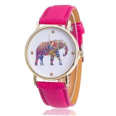 Women Elephant Leather Strap Watch Fashion Women Quartz Wristwatch (Rose Red) (Intl)