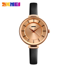 Women Fashion Casual Leather Strap Women's Quartz Watches Luxury Brand SKMEI Waterproof Ladies Retro Dress Wristwatches (Gold Case-black)
