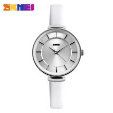 Women Fashion Casual Leather Strap Women's Quartz Watches Luxury Brand SKMEI Waterproof Ladies Retro Dress Wristwatches (Gold Case-White)