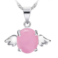 Women Fashion Crystal Heart Pendant Necklace Chain Jewelry Angel (Pink)
