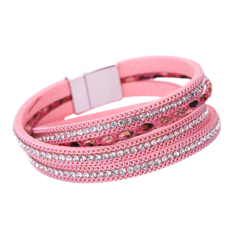 Women Fashion Jewelry Leather Automatically Magnetic Clasp Bracelet Pink - Intl
