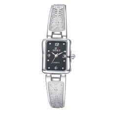 Women fashion watches chronograph quartz lady wirst watch silveralloy watch-strap black dial - intl