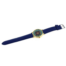 Women Geneva Compass Dial Golden Case Faux Leather Band Wrist Watch Blue (Intl)