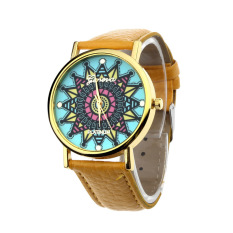 Women Geneva Compass Dial Golden Case Faux Leather Band Wrist Watch Yellow (Intl)