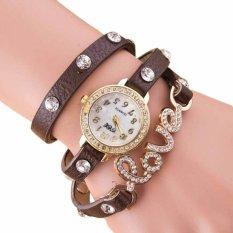 Women Girl Fashion Love Dial Wrap Around PU Leather Bracelet Quartz Wrist Watch Coffee (Intl)