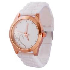 Women Heart-shaped Flower Geneva Silicone Crystal Diamond Quartz Jelly Watch White (Intl)