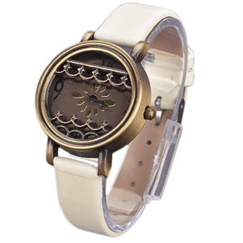 Women Hot New Synthetic Leather Dress Watches Fenestration Retro Style Lady Wrist Watches (White) - Intl