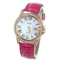 Women Lady PU Leather Band Round Dial Quartz Analog Wrist Watch Red