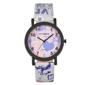 Women Leather Band Watch Stainless Steel Quartz Wrist Watch Purple Free Shipping