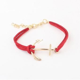 Women Leather Bracelet Rope With Shiny Metal Anchor Pattern Bracelet - intl