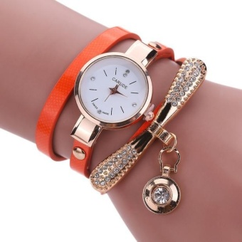 Women Leather Rhinestone Analog Quartz Wrist Watches - Orange - intl