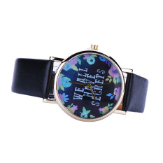 Women Leisure Fashion Collocation Letters Leather Watch Black (Intl)