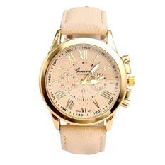 Women Luxury Leather Geneva Dress Watches Man Unsex Watch Girls Wristwatches (BEIGE) - Intl