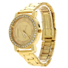 Women Men Diamond Dial Golden Rhinestone Ladies Watch No Diamond (Intl)