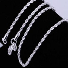 Women Men Fashion Exquisite 925 Sterling Silver Twisted Rope LinkChain Lobster Clasp Necklace Jewelry - Intl