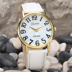 Women Retro Digital Dial Leather Band Quartz Analog Wrist Watch Watches White (Intl)