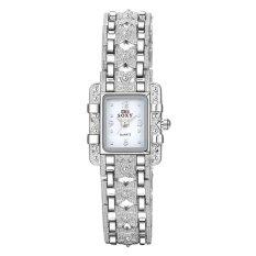 Women Square Dial Silver Steel Bracelet Rhinestone Quartz Watch White