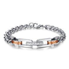 Women Stainless Steel Cubic Zirconia Couple Bracelet Link Chain Valentine Lover Promise Engagement - Intl