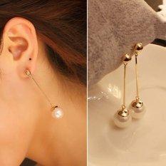 Women Stylish Pearl Gold Plated Long Drop Earrings - intl
