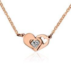 Women Teen Girls Stainless Steel IP Rose Gold Love Heart White Cubic Zirconia Pendant Necklace (Intl)