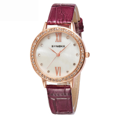 Women Watches Leather Watchband Quartz Watch 5201-Wine Red (Intl)