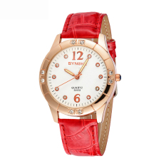 Women Watches Leather Watchband Quartz Wrist Watch 35933 -Red (Intl)