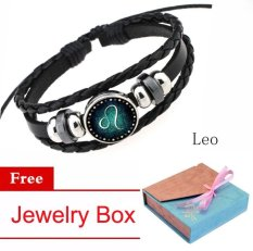 Women/Men 12 Zodiac Signs Leo Charm Bracelet Beaded Bracelet Multi-Layers Leather Friendship Couple Bangle Constellation Bracelet - intl