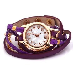 Women's Charm Chic Candy Vintage Weave Wrap Rivet Leather Bracelet Wrist Watch Purple