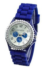 Women's Crystals Rubber Silicone Gel Jelly Strap Watch 60BL003 (Dark Blue)