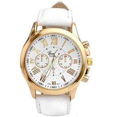 Women's Fashion Geneva Roman Numerals Faux Leather Analog Quartz Wrist Watch White