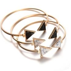 Women's Fashion Marbling Adjustable Bracelet Triangular Shape Turquoise Bracelet 3 Pcs (Gold) - Intl