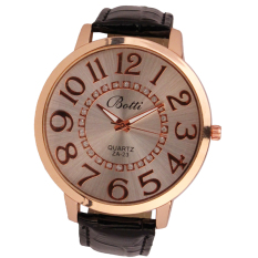 Womens Fashion Numerals Golden Dial Leather Analog Quartz Watch Black (Intl)