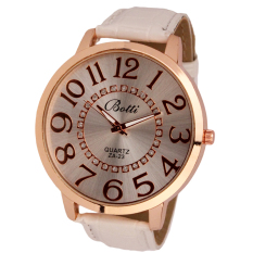Womens Fashion Numerals Golden Dial Leather Analog Quartz Watch White (Intl)